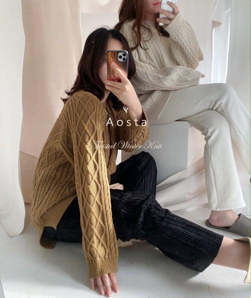 【予約販売】tweed knit pullover〈Aosta〉【mom】