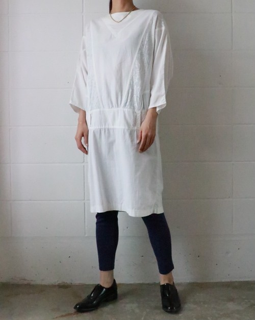 80's white cotton dress