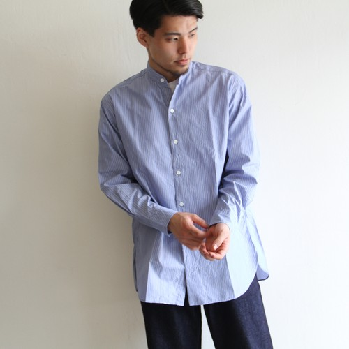 KAPTAIN SUNSHINE【 mens 】washed cotton silk stripe shirts
