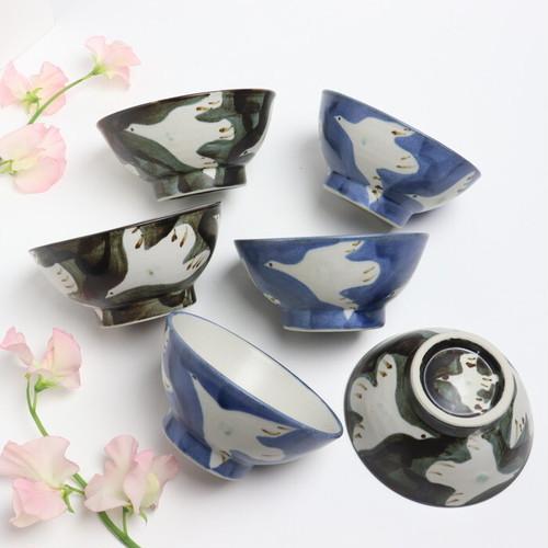 【やちむん】飯椀大 鳥/ [Yachimun] Rice Bowl (Large) 'Bird'  #163