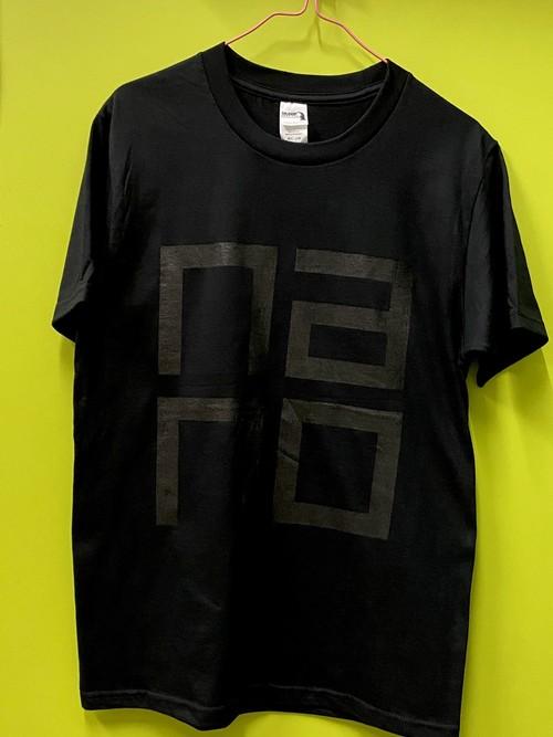 【nanoロゴ】同色プリントTシャツBLACK GILDAN HA00 6.1OZ