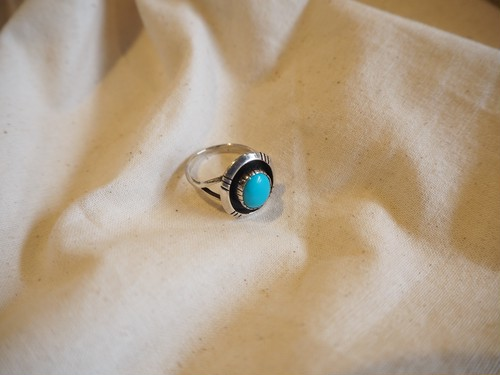 <vintage silver925>round navajo turquoise ring