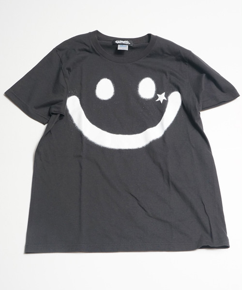 RAKUGAKI BIG SMILE T-Shirts Carbon x White