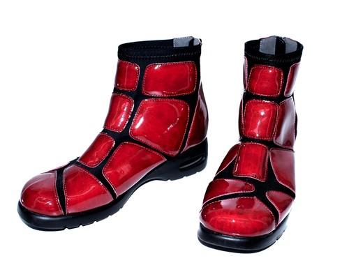 enamel ankle boots