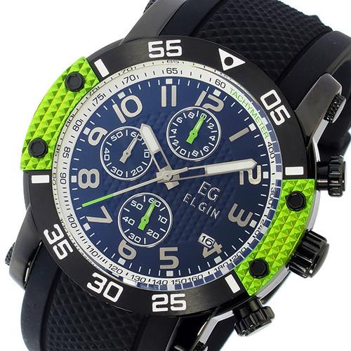 エルジン ELGIN クオーツ クロノ メンズ 腕時計 EG-001-GR グリーン ブラック