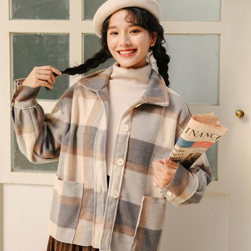 【アウター】冬新作韓国風レトロ文芸チェック柄ゆったり清新アウター