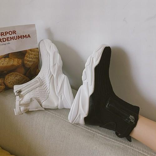 ソックススニーカー ブーツ 厚底 韓国ファッション レディース ソックスシューズ ハイカット スニーカー ラバーソール 歩きやすい 美脚 ラウンドトゥ DTC-599583379913
