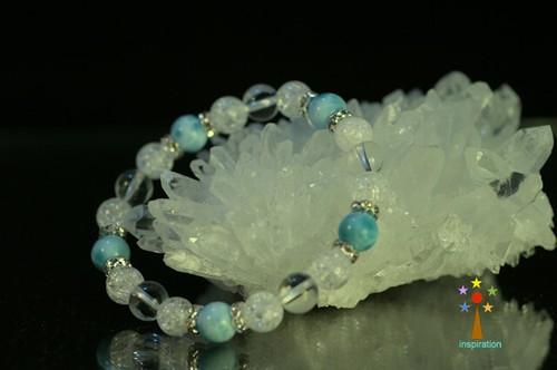 ラリマー・クリアー水晶・クラック水晶ブレスレッドB032-2