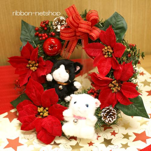 【送料無料】クリスマスリース 30cm ハチワレ黒猫&白猫マスコット付シルクフラワー(造花)リース FL-CH-338