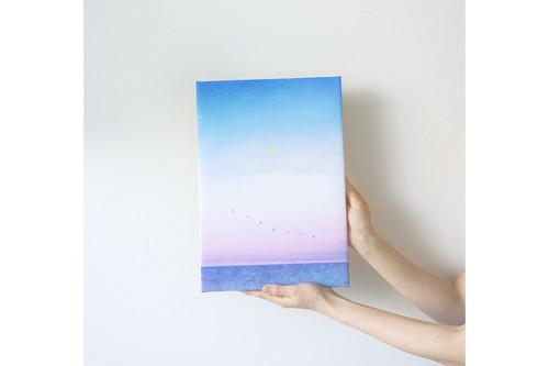 海と青い鳥を描いた、ファブリックボード