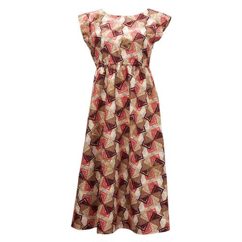フレンチスリーブワンピース 「かざぐるま」 ピンク× ブラウン × ベージュ / アフリカンファブリック アフリカンバティック