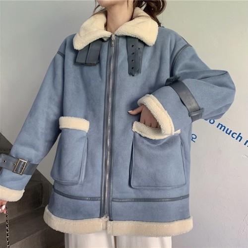 フライトジャケット オーバーサイズ ブルー 防寒 あったか 秋 冬 レディース ファッション 韓国 オルチャン