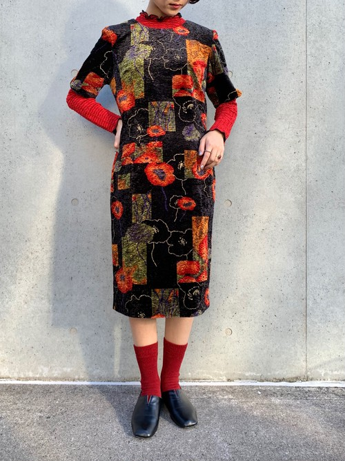 (TOYO) flower pattern velours tight one-piece