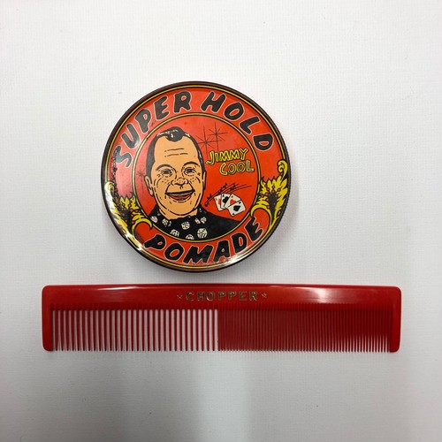 ①JIMMY COOLジミークール空ポマード缶,CHOPPER コーム新品デッドストック ロカビリーロックンロールROCK 80~90's クールス
