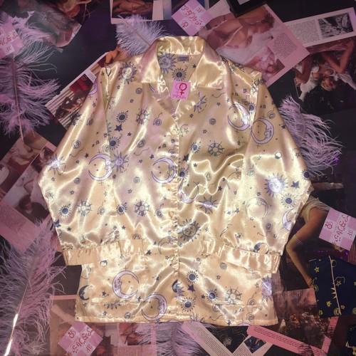 vintage psychic pajama tops / yellow