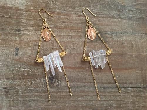 aurora crystal triangle earring