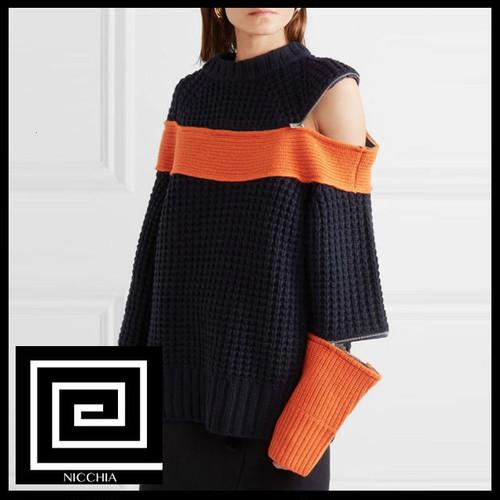 Oネックジッパーストライプヒットカラーセーター