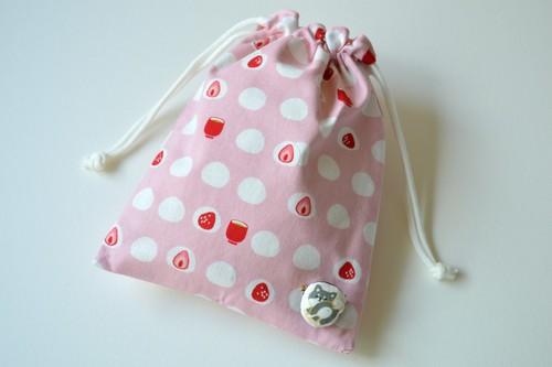 ポンっと入れてバッグの中をすっきりお片付けシンプルが使いやすい・巾着袋 いちご大福 柴犬 和菓子