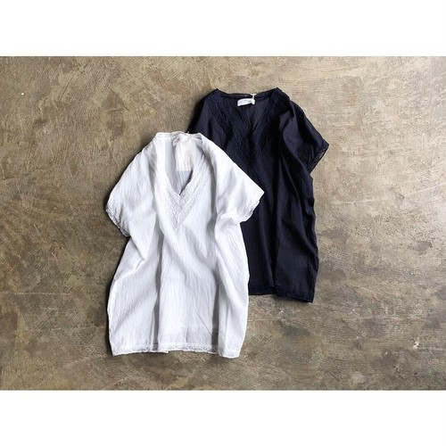 SOIL(ソイル) VOILE &LACE V-NECK NO/SL PULLOVER