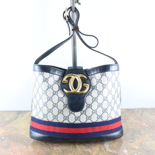 .OLD GUCCI SHERRY LINE GG PATTERNED LOGO SHOULDER BAG MADE IN ITALY/オールドグッチシェリーラインGG柄ロゴショルダーバッグ2000000048338
