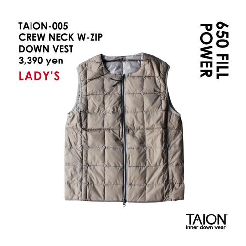 [ 今なら送料無料!! ] 【レディース】TAION-005 CREW NECK W-ZIP DOWN VEST < カーキ >