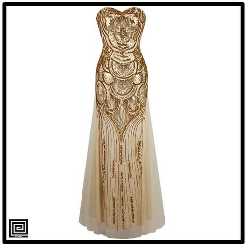 ヴィンテージゴールドスパンコールイブニングドレス
