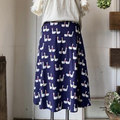 【フレアスカート】odekake/ネイビー/original textile《オーダー可能》