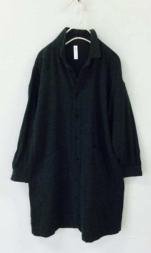 『20%OFF』【prit】ウールコットン千鳥格子レギュラーカラーシャツコート/80814