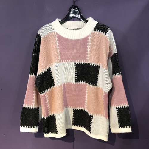 80's white×pink×black patchwork design knit[B1112]
