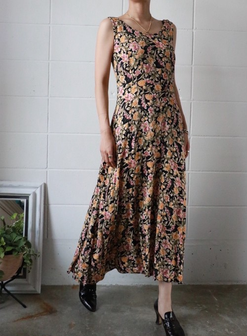 flower black long dress
