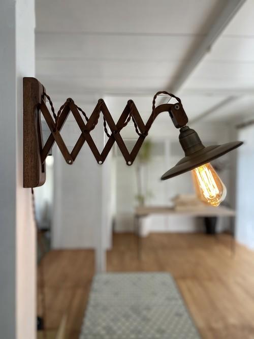 木製シザーライト×メタルシェード×エジソン電球セット