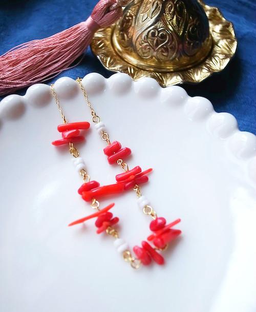 珊瑚×シェル ブレスレット