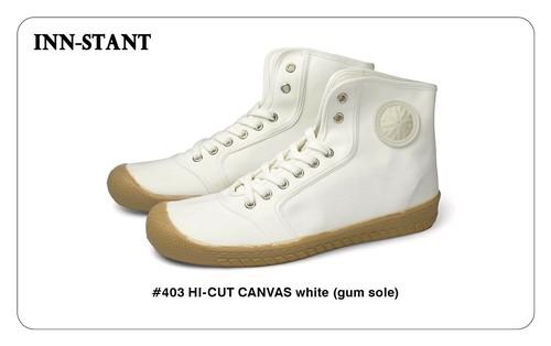 #403 HI-CUT CANVAS white (gum sole) INN-STANT インスタント 【消費税込・送料無料】