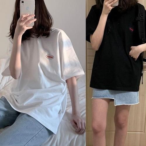 【★送料無料★】 Tシャツ ワンポイント 韓国ファッション レディース ビックTシャツ プリント シンプル 大きいサイズ ホワイト ブラック DTC-586565219386