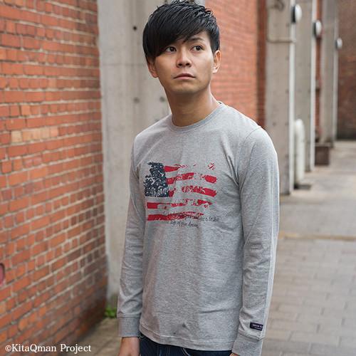 キタキュウマン着用 メンズ 長袖プリントTシャツ(アメリカ星条旗)