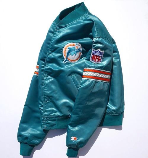 1990's [STARTER] NFL マイアミ・ドルフィンズ サテンスタジャン エメラルド 表記(L)