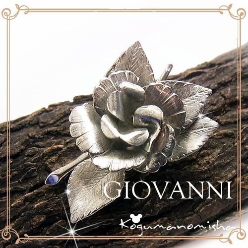 GIOVANNI ★シルバートーン 立体 彫金 薔薇 ヴィンテージ フラワーブローチ 1960s ジョヴァンニ