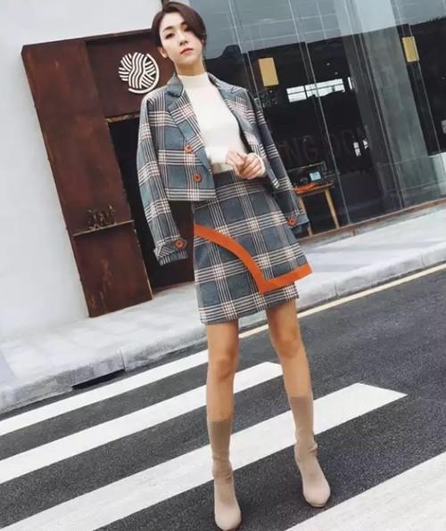 【送料無料】オレンジライン チェック セットアップ スカート ジャケット 韓国 スーツ