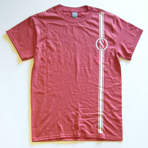 Colon Cycle shop tee shirt, Heather Sport Scarlet Red