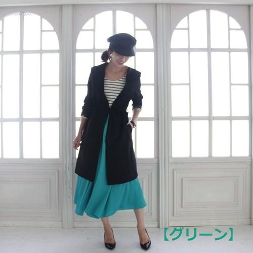 光沢ミドル丈スカート(327-3001)