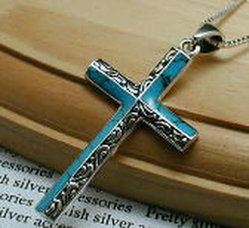 【ヘッドのみ】十字架 ターコイズブルー クロス シルバーアクセサリー