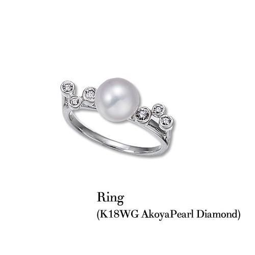 jewelG <Chic> ダイヤモンド&アコヤパール リング K18WG