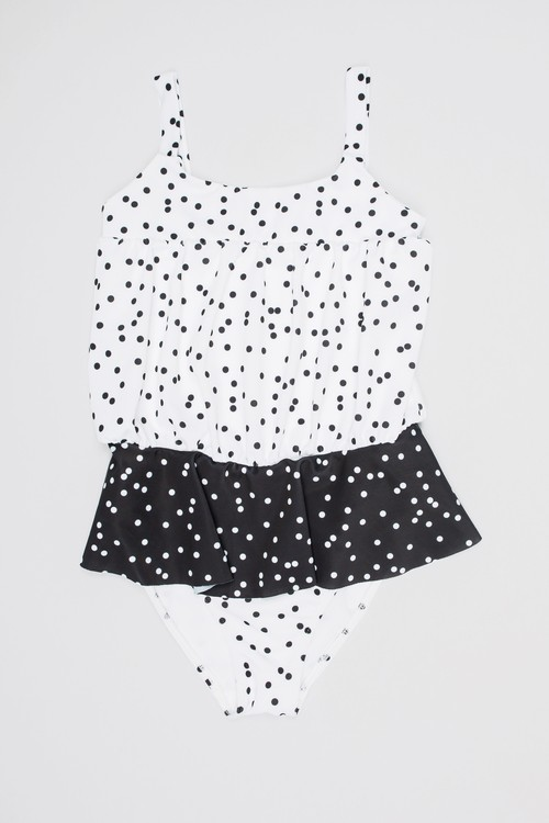 MOTORETA RUFFLED SWIMSUIT Polka dots black & white