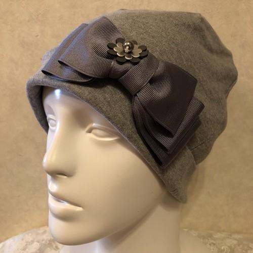おリボンとお花のケア帽子 グレー
