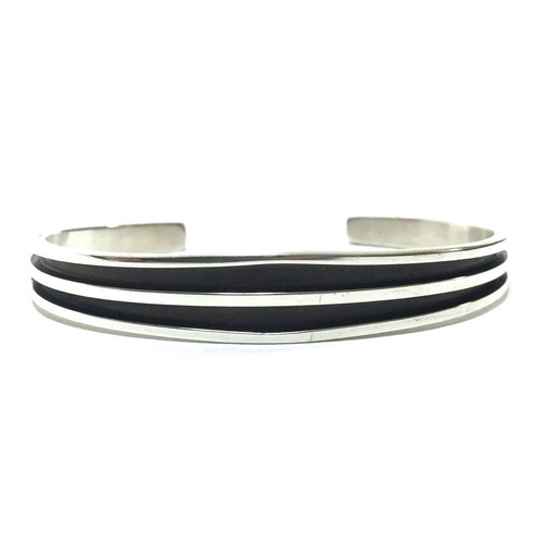 Navajo Sterling Silver Two Line Bangle by Tom Hawk