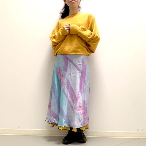 vdsl-027 ビンテージシルクサリー 巻きスカート ロング【ウォーターリーフラワー】