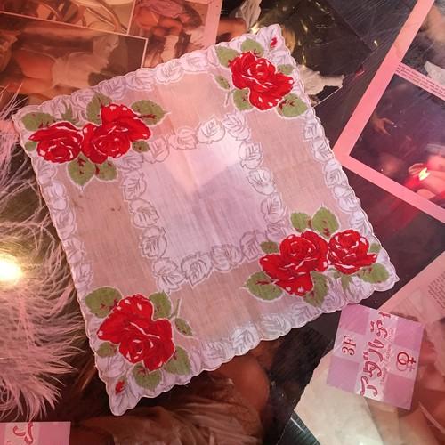 beige rose vintage ハンカチーフ