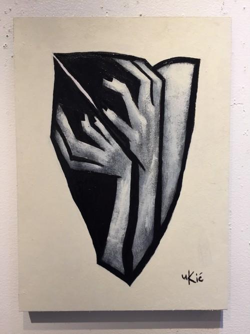 山田裕吉「頭を抱える女」33.5×24.5cmパネルに和紙。アクリル、ミクストメディア