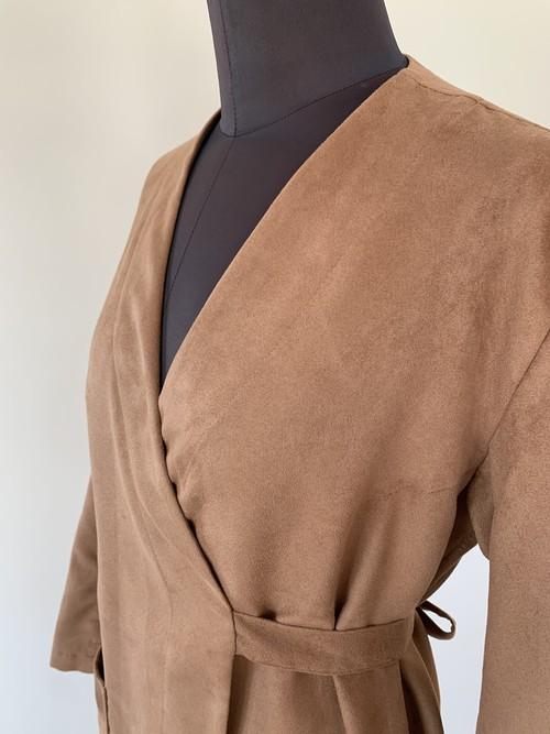 Wrap coat/Dark pink