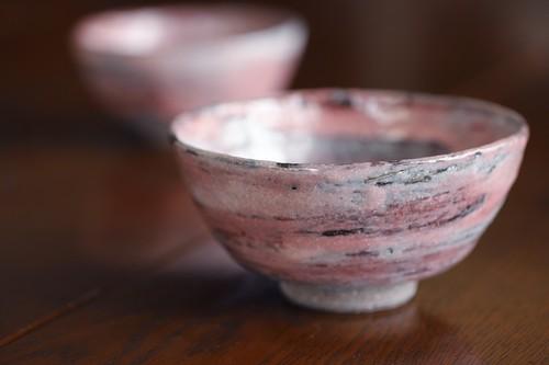 火炎紅梅釉 飯碗 (大) (小) 作:谷井芳山・谷寛窯(信楽焼)